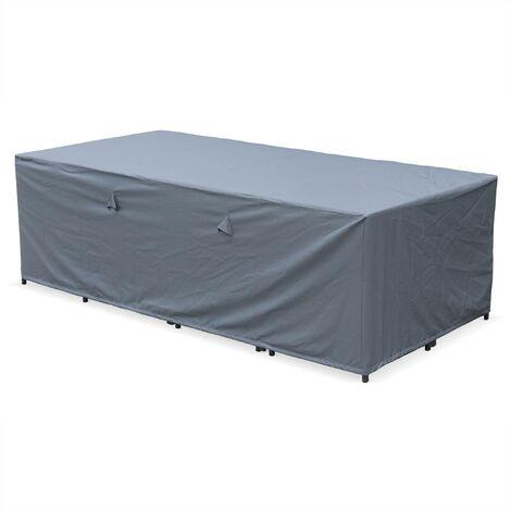 Housse de protection 230x112cm gris foncé polyester pour tables de jardin Vasto 12 Cubo 12