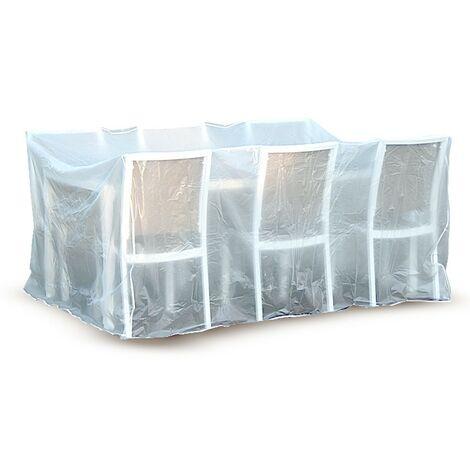 Housse de protection / bâche pour salon et table de jardin Blanc 215 cm