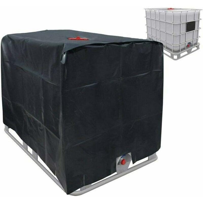 Housse de protection couvercle bâche de protection pour réservoir d'eau de pluie Récipient IBC 1000 litres en aluminium 120x100x116 210D-noir