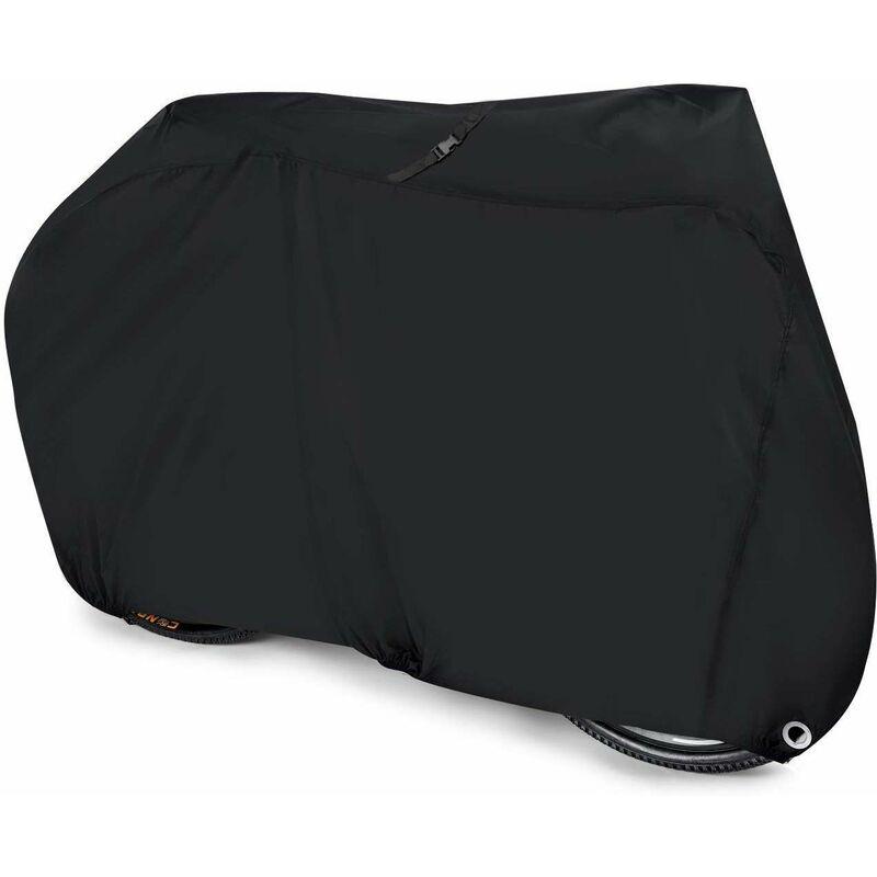 Housse de protection imperméable en nylon 210D pour vélo de montagne, vélo de course avec sac de rangement Noir