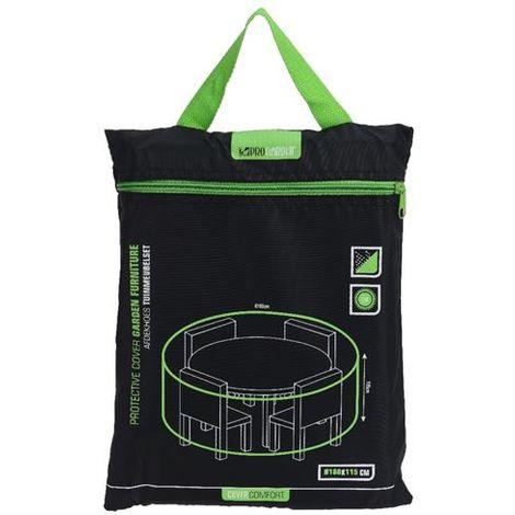 Housse de protection imperméable pour table de jardin ronde, 180 x 115 cm,  noir