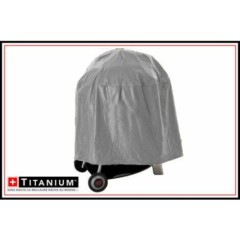 Housse de protection indéchirable pour barbecue rond TITANIUM® - 65 x 75 cm - ARGENT