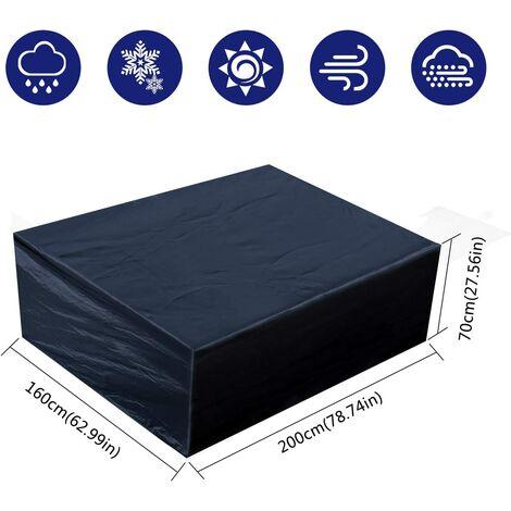 Housse de Protection Meubles de Jardin - Imperméable Rectangulaire Housse de Mobilier de Jardin Couverture - pour Table Meubles (200x160x70cm/ 63x70.8x27.5 in)