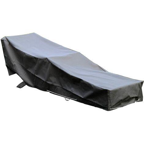 Housse De Protection pour chaise longue transat de jardin Haute Qualité polyester doublée PVC L 205 x l 70 x h 60 cm Couleur Anthracite - Anthracite