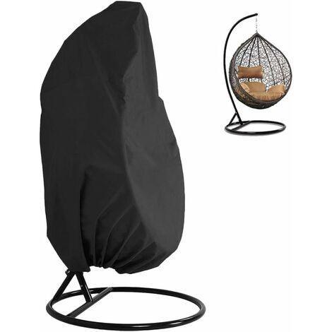 Housse de Protection pour Fauteuil Suspendu 210D Oxford imperméable résistant aux intempéries avec Fermeture Éclair Noir 190 x 115 cm