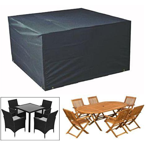 Housse De Protection Pour Salon De Jardin Table Noir- 124cm X 124cm ...