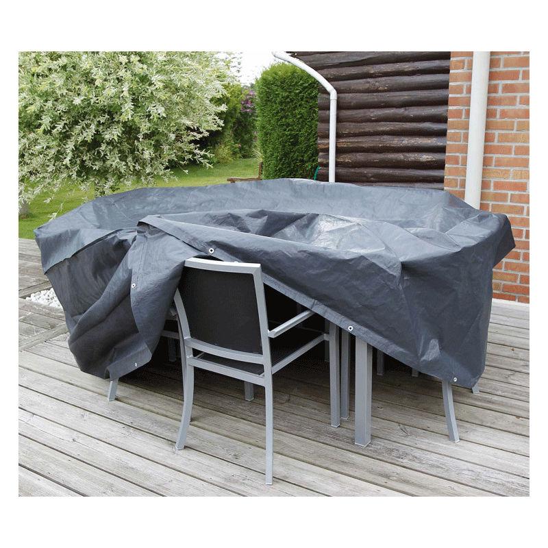 Housse de protection pour table rectangle et chaises de jardin | 325 x 205 cm