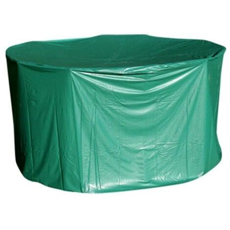 Housse de protection PVC table ronde de jardin Vert 184 cm