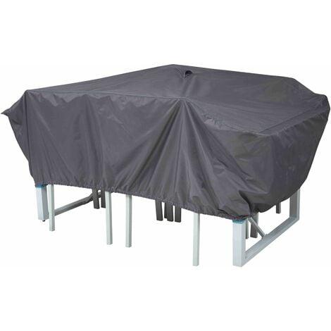 Housse de protection table de jardin 180 x 110 cm - Gris ...
