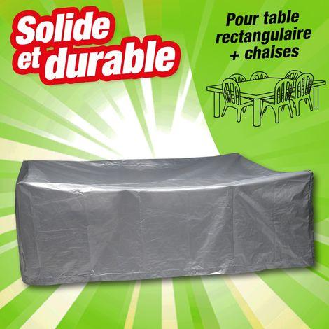 Housse de protection table rectangulaire et chaises - Titanium