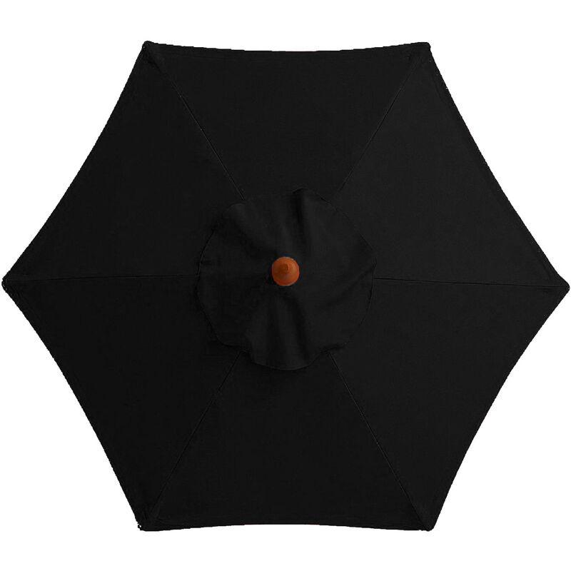 Housse de rechange pour parasol - 6 baleines - 2m - Imperméable - Protection UV - Tissu de rechange - Noir