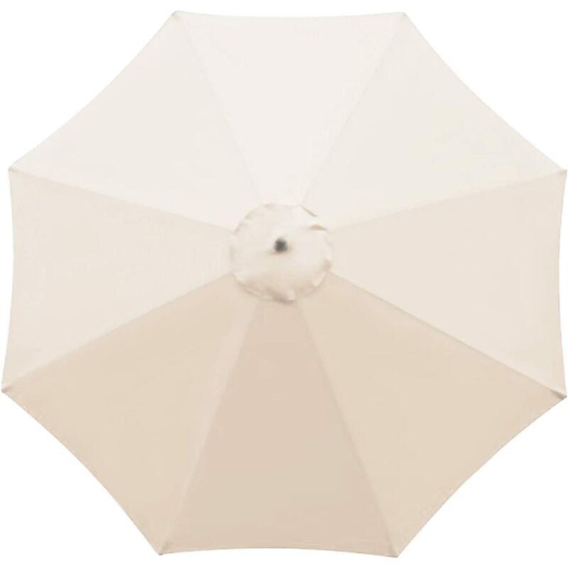 Housse de rechange pour parasol - 8 baleines - 2.7m - Imperméable - Protection UV - Tissu de rechange - Beige
