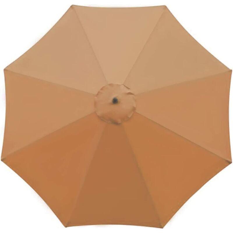 Housse de rechange pour parasol - 8 baleines - 2.7m - Imperméable - Protection UV - Tissu de rechange - Kaki (couleur)