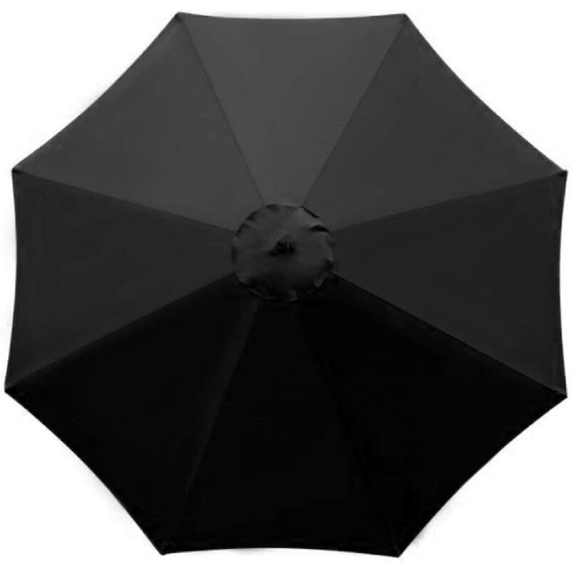 Housse de rechange pour parasol - 8 baleines - 2.7m - Imperméable - Protection UV - Tissu de rechange - Noir