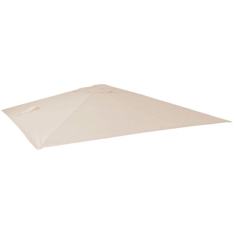 Housse de rechange pour parasol déporté de luxe HHG, 3x3m ~ crème