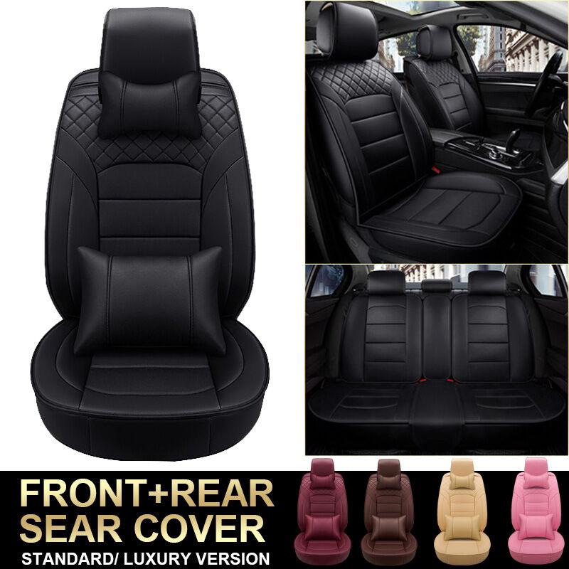 Housse de siège de voiture universelle en cuir PU 5 places Coussin de siège complet respirant (noir, version de luxe)