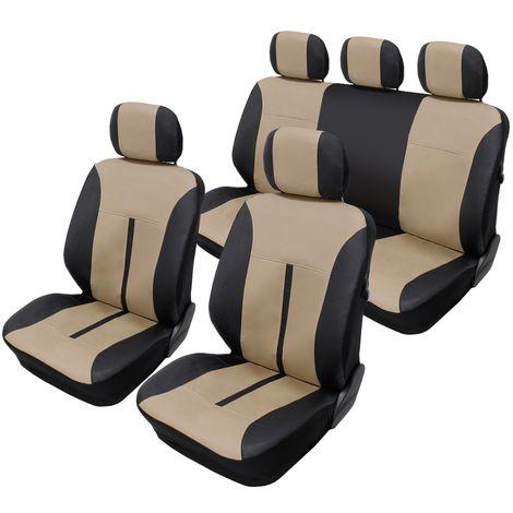 Housse de siège universelle couvre voiture en imitation cuir beige noir airbag
