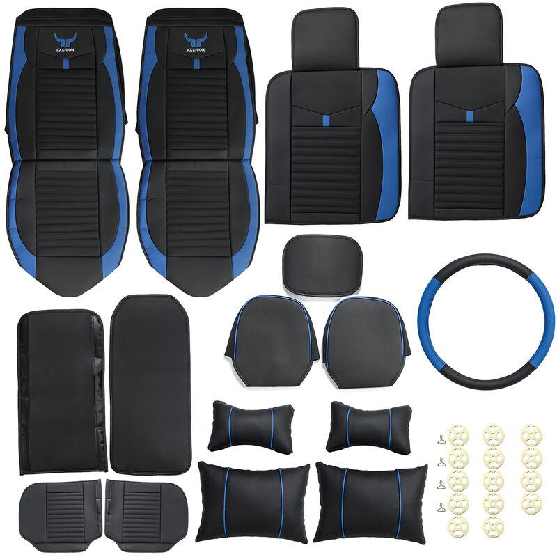 Housse de siège auto en cuir PU de luxe Housse de siège universelle 5 places Ensemble complet Coussin de siège auto Appuie-tête bleu, luxe