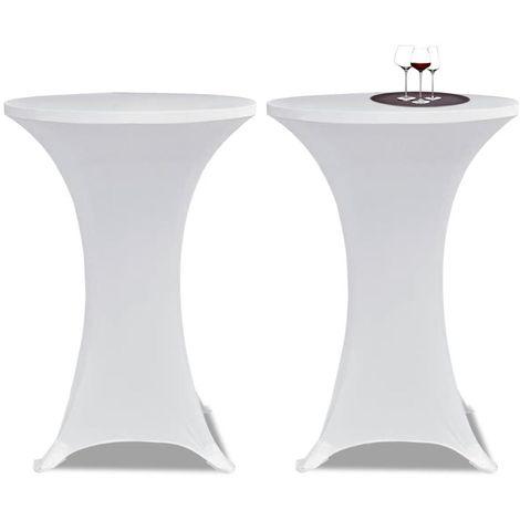 Housse de table ?60cm Blanche extensible 2 pcs