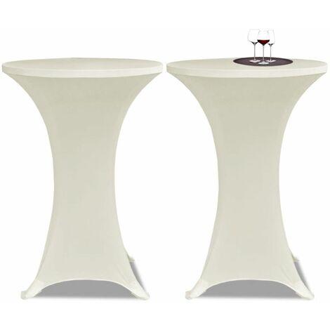 Housse de table ?60cm Crème extensible 2 pcs