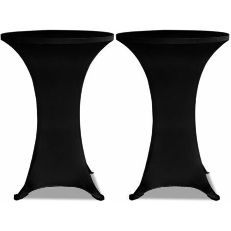 Housse de table ?60cm Noir extensible 2 pcs