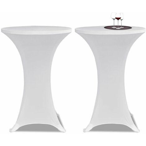 Housse de table ?70cm Blanche extensible 2 pcs