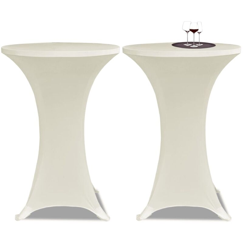 Housse de table Ø70cm Crème extensible 2 pcs