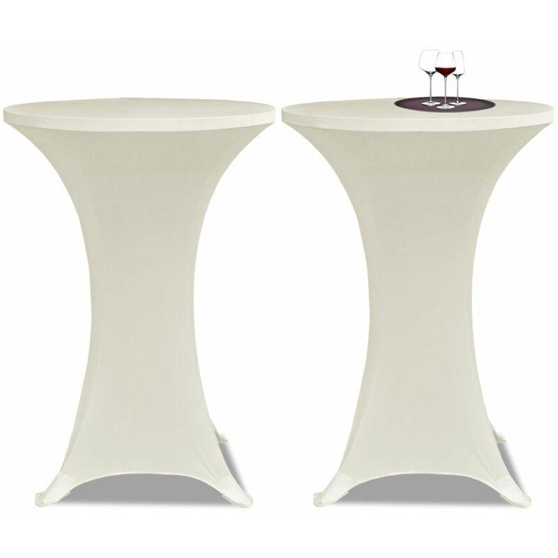 Housse de table Ø70cm Crème extensible 2 pcs - crèmem