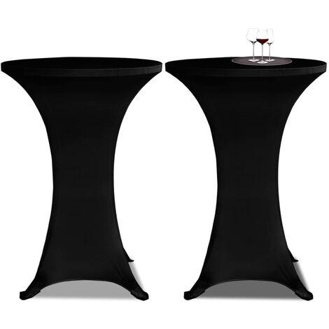 Housse de table Ø70cm Noir extensible 2 pcs