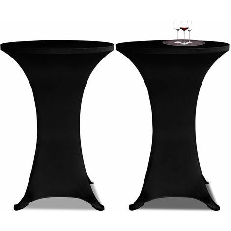 Housse de table Ø70cm Noir extensible 2 pcs - noir