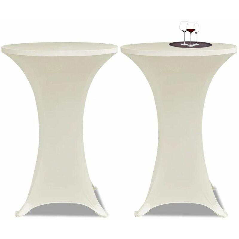 Housse de table ?80cm Creme extensible 2 pcs