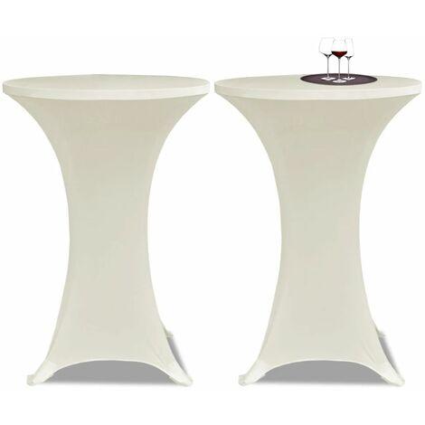 Housse de table ?80cm Crème extensible 2 pcs