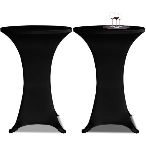 Housse de table ?80cm Noir extensible 2 pcs