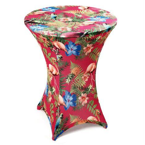 Housse de table de bar extensible Ø 80 cm Housse de table bistrot uni & decor