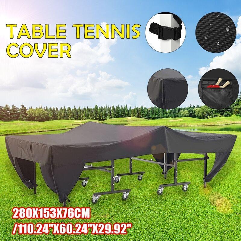 Housse de table de ping-pong étanche à la poussière avec poche latérale Protection de couverture de tennis intérieur extérieur