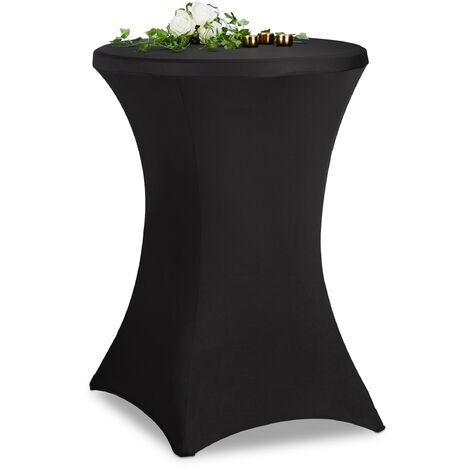 Housse mange debout, ∅ 60-65 cm, nappe extensible pour table de bistrot, élégant, lavable, sans plis, noir