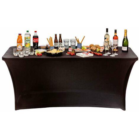 Housse nappe pour table pliante 180cm Noir