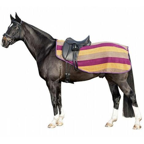 Housse pour chevaux en laine polaire avec rayures colorées et fermeture tearjaw HKM Classic