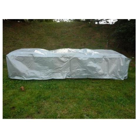 Housse protection table rectangulaire et chaises - TITANIUM - 250X200X90 - ARGENT