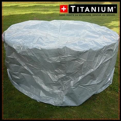 Housse protection table ronde et chaises - TITANIUM - 215X90 - ARGENT