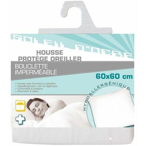 Housse protège oreiller bouclette imperméable - 60 x 60 cm - Hypoallergénique