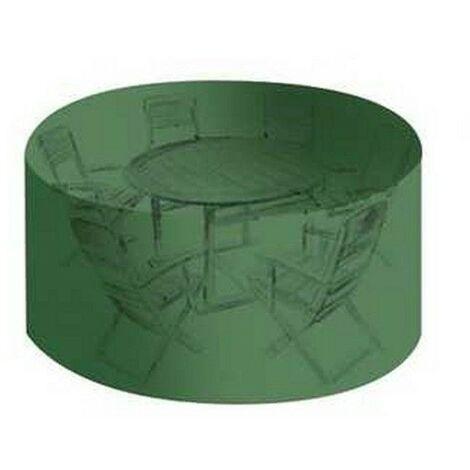 Housse salon de jardin PVC ronde diamètre 184 cm - hauteur 120 cm avec  ?illets - couleur verte - haute résistance