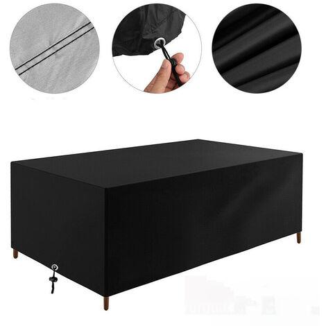 Housse Table de Jardin, Bâche de Protection en Tissu Oxford 210D Couverture Étanche Anti-UV Antipoussière pour Salon Canapé Chaises Meuble à l'Extérieur Patio Terrasse, 213x132x74cm