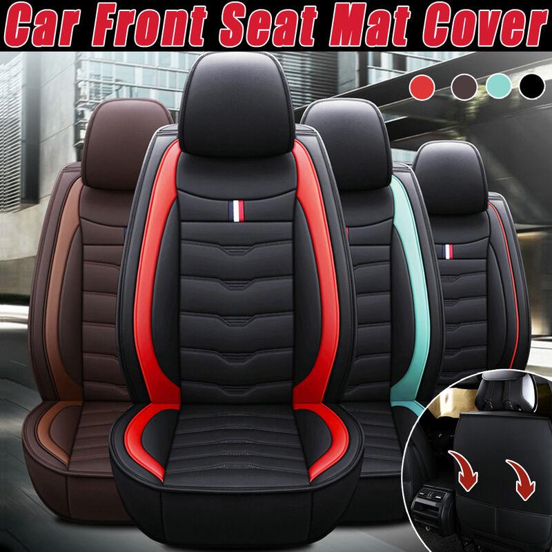 Housse universelle pour tapis de siège de première rangée de voiture en cuir PU Coussin de chaise respirant (noir)