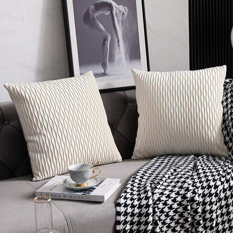 Housses de Coussin de Canapé Blanc Ivoire: 2 Pack 45cmx45cm Taies d'oreiller Carrées en Velours Rayé d'origine pour la Décoration de la Maison
