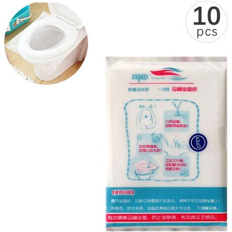Housses de siege de toilette jetables Voyage Portable 10 pieces/paquet 13.98 * 16.93 pouces,modele:Blanc