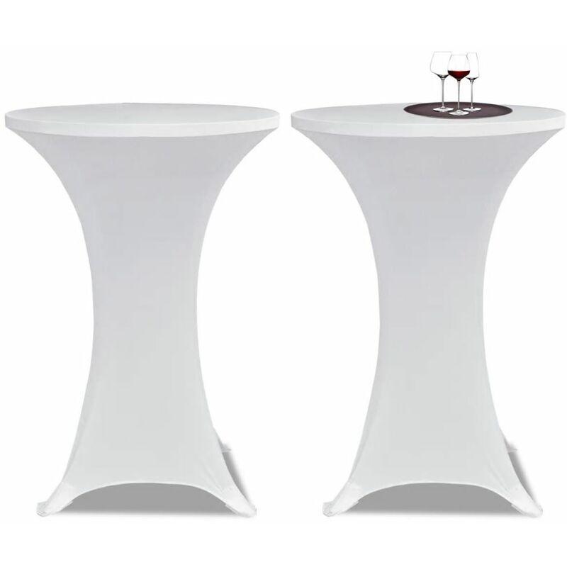 Ilovemono - Housses élastiques de table Ø 60 cm Blanc 2 pcs