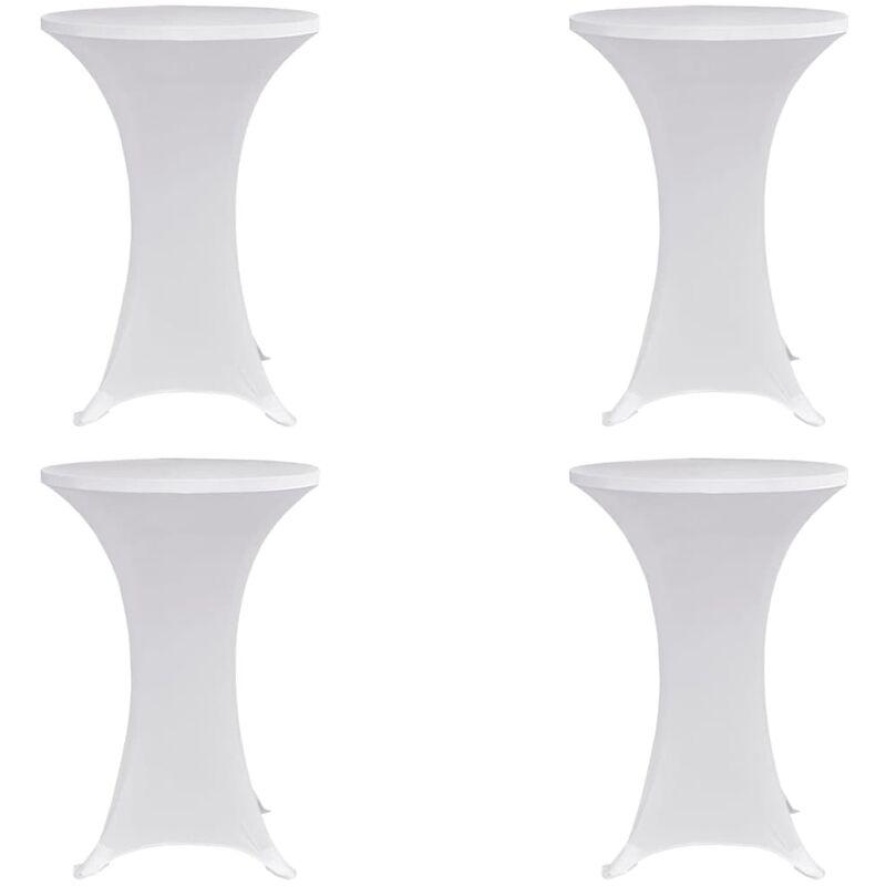Housses élastiques de table Ø 60 cm Blanc 4 pcs