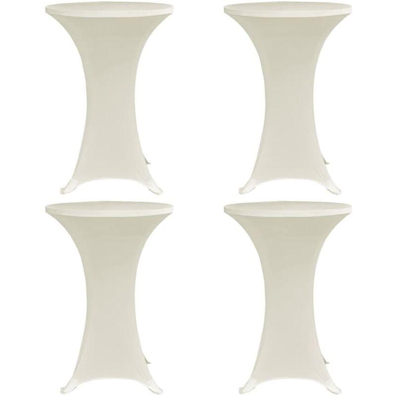 Housses élastiques de table Ø 60 cm Crème 4 pcs
