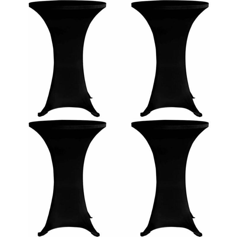 Housses élastiques de table Ø 60 cm Noir 4 pcs